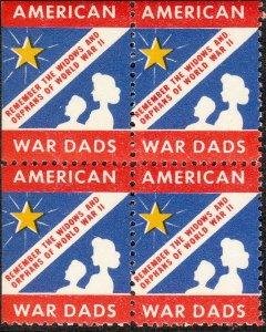Stamp Label USA WWII Block Poster American War Dad Remember Widows Orphans 1 MNH