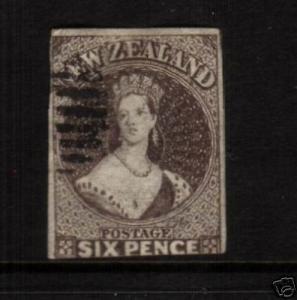 NEW ZEALAND FFQ 1862 6d  BLACK/BROWN FU STAR WMK SG41