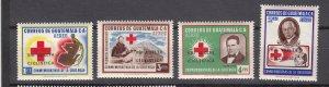 J27344 1964 guatemala set mh #c295-8 red cross ovpt,s