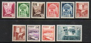 French Morocco: 1951-54 set excluding 15c. (10) ex SG 398-408 mint