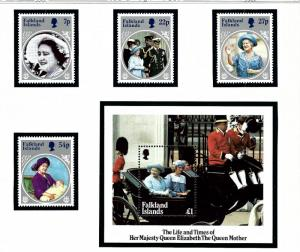 Falkland Is 420-24 MNH 1985 Queen Mother Birthday