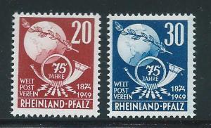 Germany Rhein-Palatinate 6N41-42 75th UPU set MNH