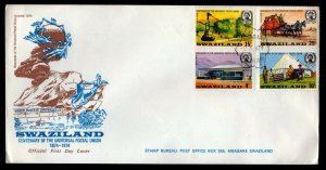Swaziland - Sc #214 to 217 -1974 UPU Centenary - Unaddressed First Day Cover