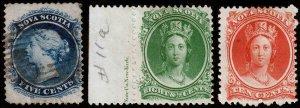Nova Scotia Scott 10, 11a, 12 (1860) Mint/Used H F, CV $42.00 C