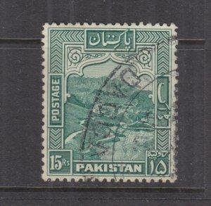 PAKISTAN, 1948 perf. 12, 15r. Blue Green, used.