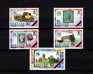BELIZE - 1984 - AUSIPEX - STAMP ON STAMP - PENNY BLACK - COACH + MINT - MNH SET!