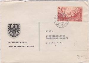 Liechtenstein 1942 Vaduz  to Zurich   stamps cover  R20510