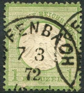 GERMANY-1872 Small Shield 1 Kreuzer Green Sg 8 FINE USED V22307