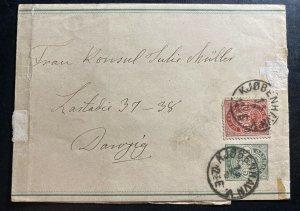 1900s Copenhagen Denmark Stationery Wrapper Cover To Danzig
