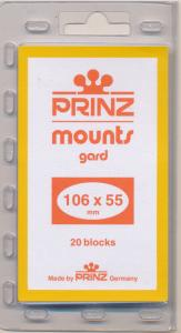 Prinz Scott Stamp Mounts Size 106/55 mm BLACK (Pack of 20) (106x55 106mm) PRECUT