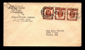 Philippines 1954 Afran Stamp Company Cover to USA / Strip of 3 - L22589