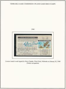 Nebraska, 1968, 1969, and 1971 State Bird Stamps on License, Scarce Items