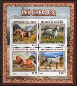 Niger MNH S/S Gorgeous Horses 4 Stamps