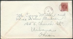 CANADA 1943 cover to USA, FRENCH RIVER cds and mute cancel  in red.........45791