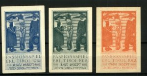 Germany 1912 Passion Play Every Sunday and Holiday Labels