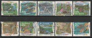 1995 New Zealand - Sc 1259-68 - used VF - 10 single - Environmental Protection