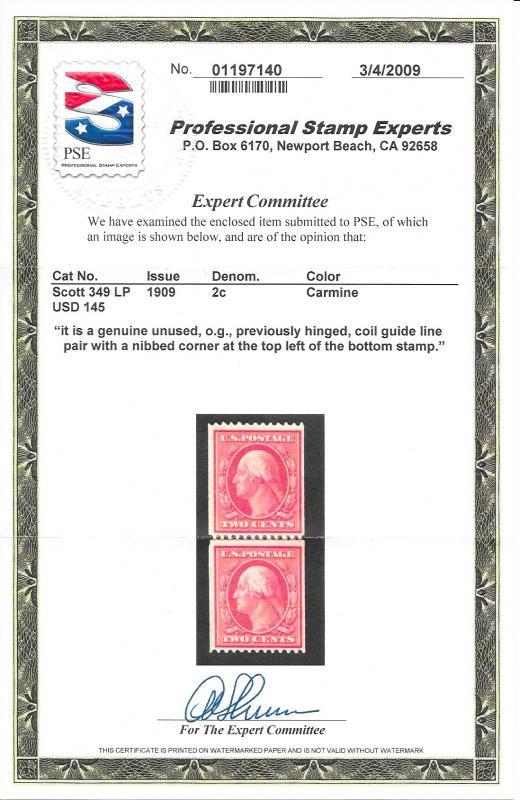 349 Unused 2c. Washington, Line Pair, PSE Cert.scv: $550, Free, Insured Shipping