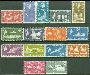 EDW1949SELL : SOUTH GEORGIA 1963-69 Scott #1-14, 16 Very Fine, Mint OG LH.
