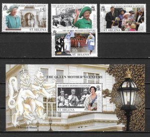 St. Helena 740-44 1999 Queen Mother set and s.s. MNH