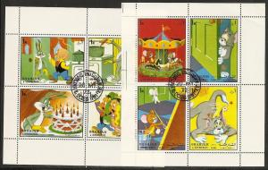 Sharjah Michel 1083-90 1972 Cartoon Characters m/s CTO