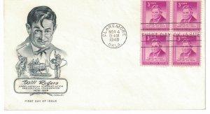 #975, 3c Will Rogers, Artmaster cachet, block of 4