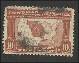 # 327 Used FAULT Red Brown Map Of Louisiana Purchase