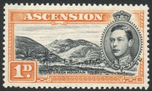 ASCENSION-1940 1d Black & Yellow-Ochre Perf 13½ Sg 39a MOUNTED MINT V38051