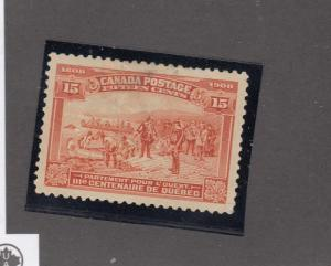 CANADA # 102  VF-MNG SM THIN 15cts  CHAMPLAIN'S DEPARTURE /ORANGE CAT VALUE $350
