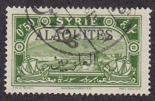 Alaouites # 27, Syrian stamp overprinted, Used, thinned