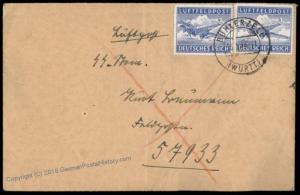 3rd Reich IV SS Korps Heavy Obs Battery Luft Feldpost Cover 62874