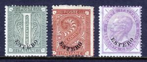 ITALY — OFFICES ABROAD — SCOTT 1//10 — 1874 ESTERO OVPTS — MH — SCV $70.50