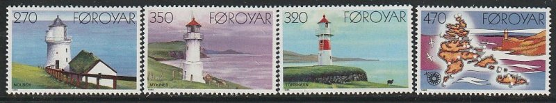 1985 Faroe Islands - Sc 130-3 - MNH VF - 3 single - Lighthouses