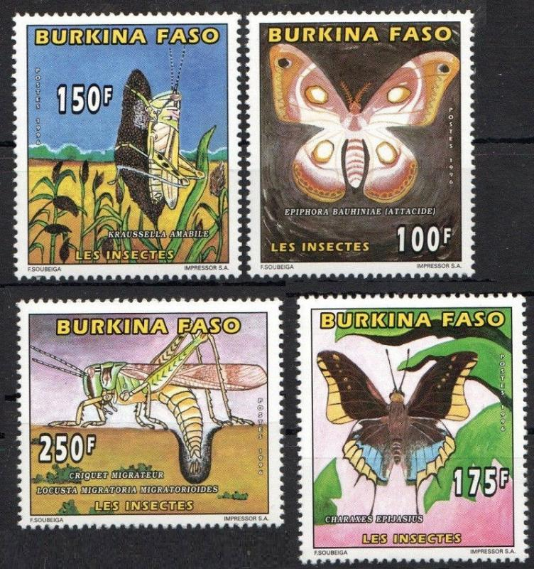 Burkina Faso 1996 Insect Butterflies Animal Fauna Papillon Stamps MNH Mi 1410-13