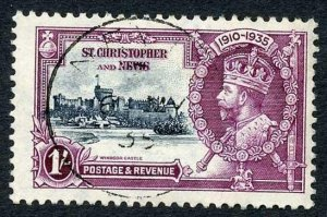 St Kitts SG64 1935 Silver Jubilee 1/- Fine used Cat 20 pounds