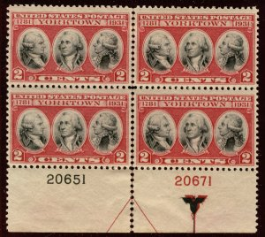 US #703 PLATE BLOCK, VF/XF mint never hinged, well centered plate,  Fresh!