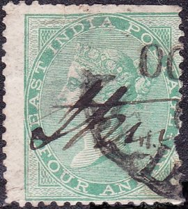 INDIA 1866 QV 4 Anna's Green SG69 Used
