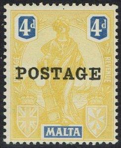 MALTA 1926 POSTAGE OVERPRINTED FIGURE 4D