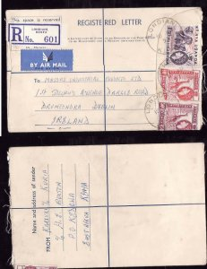 Kenya registered letter to Ireland - Londiani , Kenya -16 Ap 1957- registration