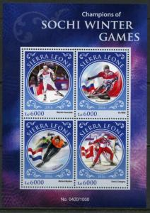 SIERRA LEONE 2016 CHAMPIONS OF THE SOCHI WINTER OLYMPIC GAMES SHEET  MINT NH