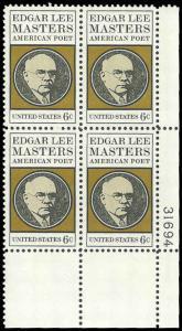 PCBstamps     US #1405 PB 24c(4x6c)Edgar Lee Masters-Poet,1970, MNH, (4)
