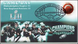 18-042, 2018, Game Day, LII, Eagles, Patriots, Pictorial Postmark, Event Cover,