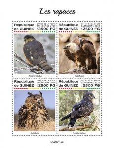 Guinea Birds of Prey on Stamps 2020 MNH Raptors Owls Vultures Hawks 4v M/S
