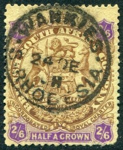 RHODESIA-1896-97 2/6 Brown & Purple/Yellow Sg 48 AVERAGE USED V48396