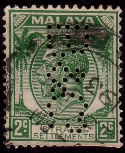 MALAYA STRAITS SETTLEMENTS GV 2c B&Co Perfin used..........................37523