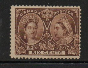 Canada Sc 55 1897 6c yellow brown Victoria Jubilee stamp mint