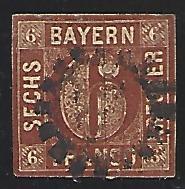 Bavaria #5 Used Single Imperf. cv $6.50 (U1)
