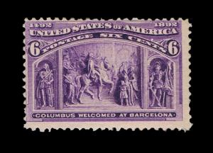 NICE MINT SCOTT #235 6₵ COLUMBIAN ISSUE MINT FINE OG NH - PRICED TO SELL