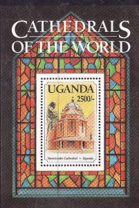 Uganda-Sc#1163- id2-unused NH sheet-Cathedrals of the World-Namirembe-1993-