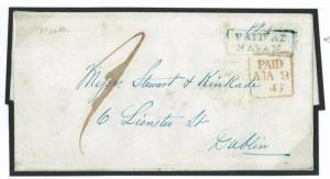 J215 1846 GB IRELAND Eire *PAID AT NAVAN* (Meath) Blue Postmark Cover Dublin