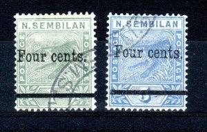 Malaysia - Negri Sembilan 1898-1900 4c on 1c and 4c on 5c FU CDS